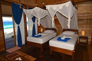Twin beds - Superior Cottage - Agusta Eco Resort - Raja Ampat Dive Resort
