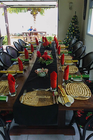 Dining table in the restaurant - Aroha Taveuni Resort - Fiji Dive Resorts