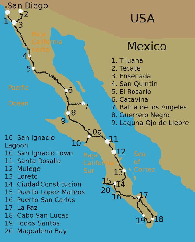 Baja Peninsula Mexico Map