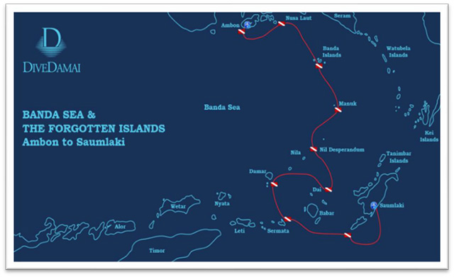 Banda Sea, 10nts Onboard Damai 2, Oct 24-Nov 3 2022 Group Trip - Route Map
