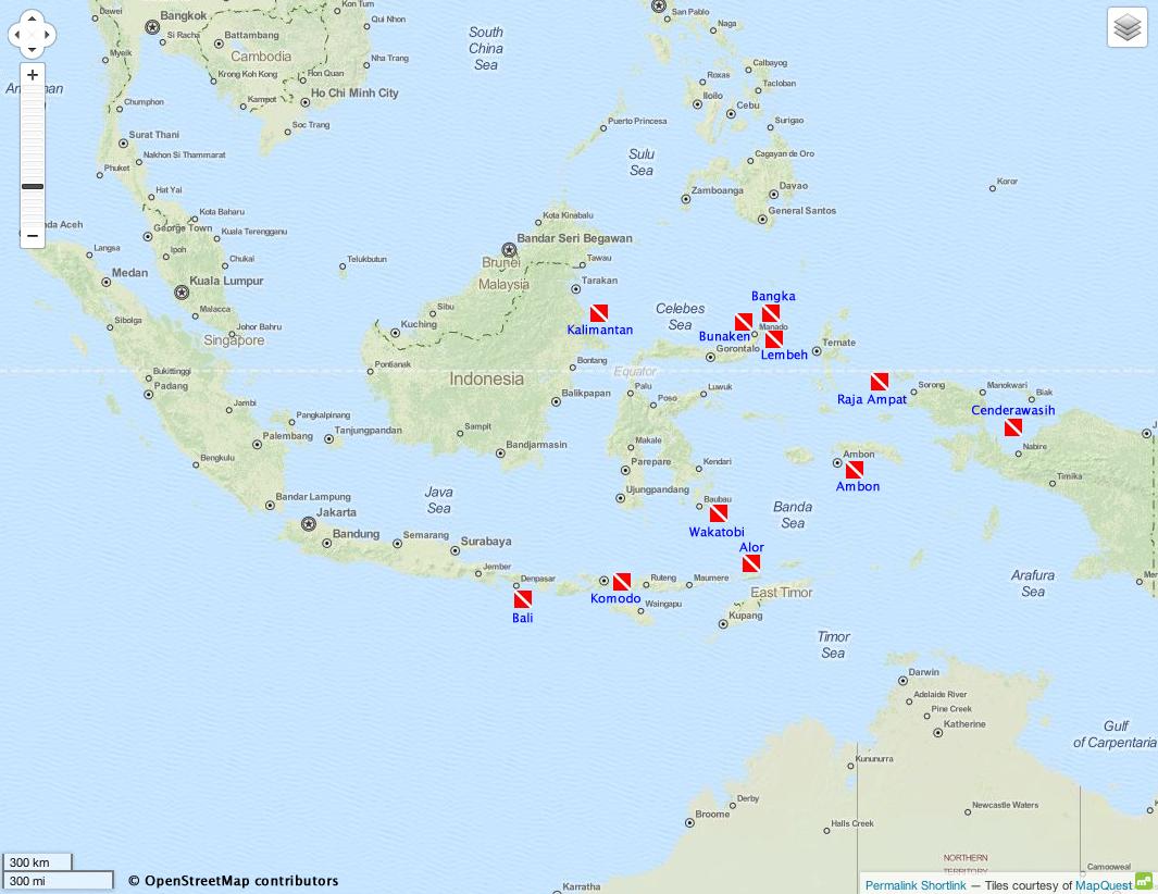 Indonesia Diving Map Indonesia Scuba Diving Komodo, Raja Ampat