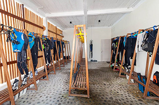 Drying room for wetsuits - Maluku Resort & Spa  - Indonesia Dive Resorts