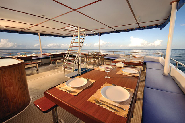 Outdoors dining area - Raja Manta Explorer - Indonesia Liveaboard