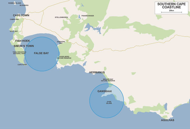 Map South Africa Towns South Africa Shark Diving Map
