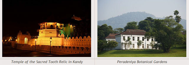 Sri Lanka travel destinations - Temple of the Sacred Tooth Relic in Kandy - Peradeniya Botanical Gardens