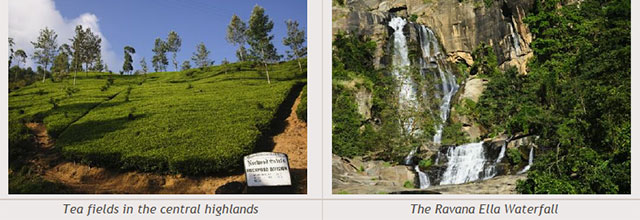 Sri Lanka travel destinations - Tea fields in the central highlands - The Ravana Ella Waterfall