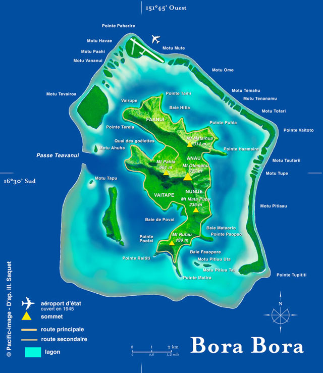Bora Bora Island Map Dive Sites