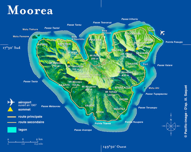 Moorea Dive Map and Dive Sites